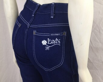 Vintage Kenny Rogers Lady Jeans 1980s designer deadstock Rose Dark denim Retro