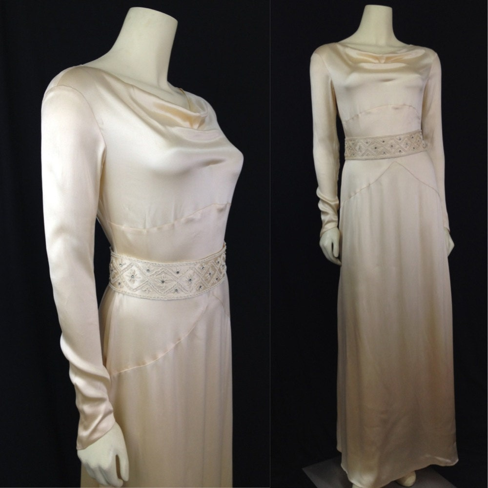 Vintage Wedding Dresses Utah: Vintage 1930s Wedding Dress Beaded Silk Satin Bias Cut Beaded