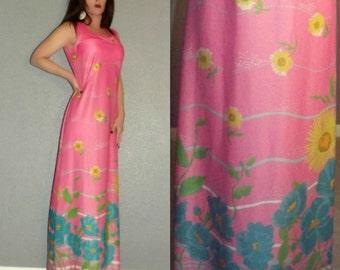 ML Vtg 60s Lady Blair Pink Op Art Novelty Print Floral Boho Hippie Hostess Maxi Dress