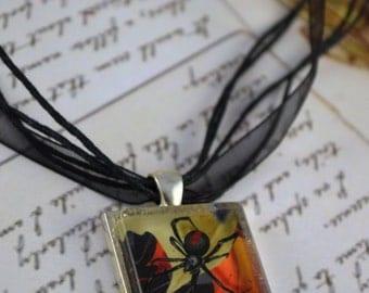Black Spider Art Pendant, Black Widow, Creepy Spider, Goth Pendant, Spider Necklace, Black Necklace