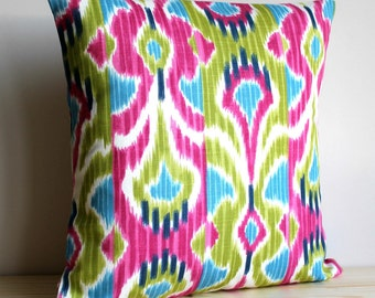 Cerise and Green Ikat Pillow Cover - 16 x 16 Ikat Cushion Cover Pillow Sham - Ikat Wave Cerise