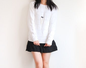 Vintage Raised Geometric Texture White Pullover Sweater