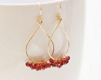 Mozambique Garnet Earrings, 14k Gold Filled, Tear Drop, January Birthday Birthstone Red Gemstone Cluster - Priscilla