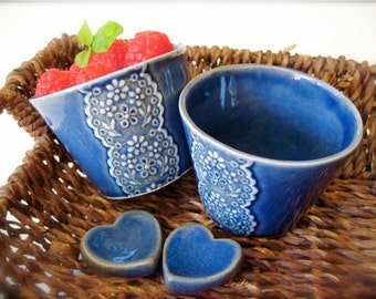 Beautiful Blue Porcelain Lace Cup with Heart Cutlery Rest Set -Hideminy Lace Series