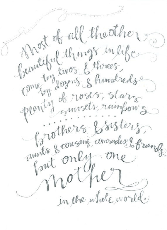 Mother 39 S Day Calligraphy Art Print