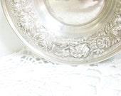 Antique Stieff Sterling Repousse Rose Silver Bon Bon Dish 925 // - AJewelsQuest