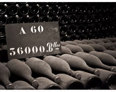 Champagne Bottles - Reims, France - bouteilles, cave, cellar, wine, kitchen decor, bar decor - 8x12 or 10x15 - Original Fine Art Photography