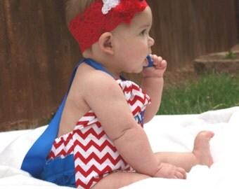 Monogrammed Red White Chevron Blue Romper Sun Suit Summer Beach Ruffles Bottom Sunsuit 0-3, 3-6, 6-12, 12-18, 18-24 Months 2T 3T 4T