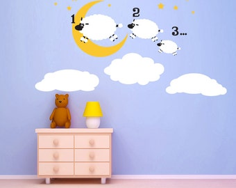 Counting Sheep wall decal kids kids wall decals - nursery decor