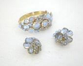 Vintage Light Blue Rhinestone Bracelet Earrings Clamp Art Glass Articulated Movable Wire Flower Cluster Mid Century GallivantsVintage