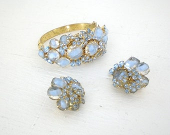 Vintage Light Blue Rhinestone Bracelet Earrings Clamp Art Glass Articulated Movable Wire Flower Cluster Mid Century GallivantsVintage
