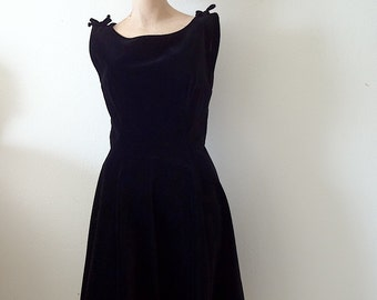 1950s black velvet party dress / vintage cocktail attire / holiday fashion