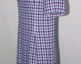 Vintage 1960s Purple Houndstooth A-Line Dress - LSU Game Day Dress