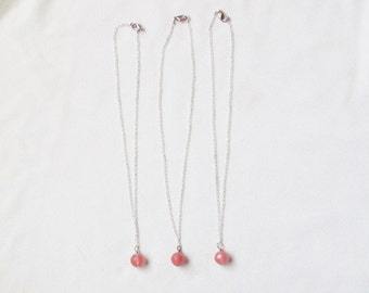 Simple Cherry Quartz Stone Pendant Necklace - Set of 3 with FREE SHIPPING