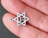 8 Star of David Charms Antique  Silver Tone with Inner Chai Symbol - SC918