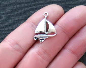 8 Sailboat Charms Antique  Silver Tone Yacht Style - SC2120