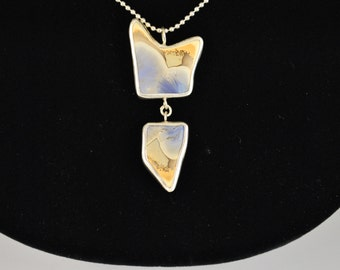Crystalline Glazed Porcelain and Silver Necklace