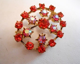 "Vintage brooch, Orange and AB Austrian crystal brooch, signed ""Austria"" brooch, 1940s brooch, vintage jewelry"