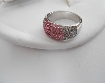 """Vintage ring, pink, fuschia, and clear crystal ring, size 7 ring, silver ring signed """"NVC"""" ring, vintage jewelry, jewellery"""