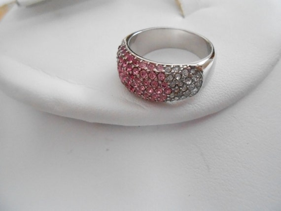 vintage ring pink fuschia and clear ring by denise5960