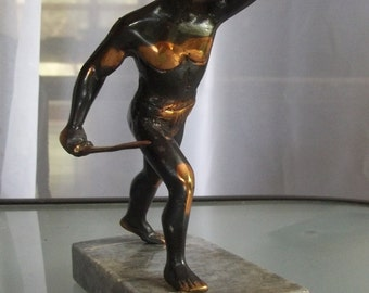 Greek Statue of Leonidas, Vintage Home Decor, Metal and Marble Base Statue, King of Sparta, Greek History