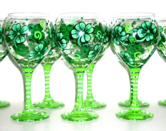 Bridesmaids Gifts  Bachelorette Party  Four Leaf Clovers or Shamrocks Hand Painted  Wine Glasses Set of 8/ 20 oz  Wedding St. Patrick's Day