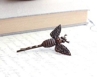 Bee Bobby Pin Vintage Patina Victorian Bee Insect Filigree Wings Dark Brown Nature Hair Accessories Modern Woodland