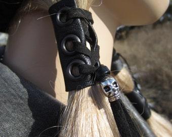 Skull Ponytail holder Hair Wraps Black Leather Corset Tie Beaded Hair Extensions  Z103