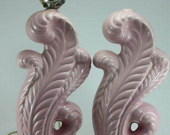 Mid Century Lamps Pink Ceramic Pair Plume Cottage Chic