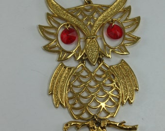 Vintage Owl Necklace Articulated Red Eyes Large