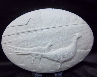 Pheasant insert ( D-1567) Ceramic-U paint it -  will  fit welcome signs-boxes-clock.