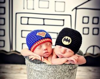 Newborn Photo Prop Twin Baby Boy Superhero Hats