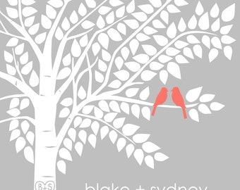 Guest Book Tree Personalized Wedding Print - 16x20 - 175 Signature Keepsake Guestbook Poster
