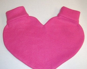 Hot Pink Lovers Mitten Snuggle Heart Shaped down for warm romantic walks Snuggle down for warm romantic walks