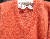 Mohair jumper, sweater, hand knitted, Autumn Russet with Winter White cuffs.