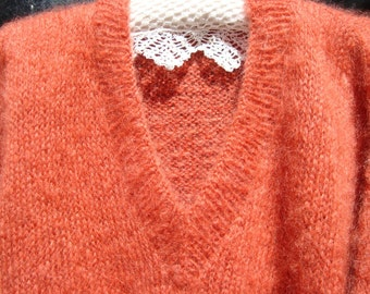 Mohair jumper, sweater, hand knitted, Autumn Russet with Winter White cuffs - free shipping.