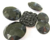 Late 1800s - Early 1900s Antique Set of 6 Black Faceted Jet Mourning Buttons