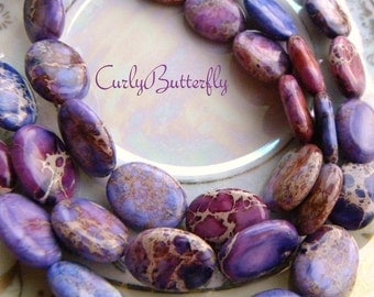 "Purple Aqua Terra Jasper Oval Beads, 8"" Strand 16 x 12mm Flat Oval, Shades of Purple, Full Strand - 13 pcs., Last Strand"