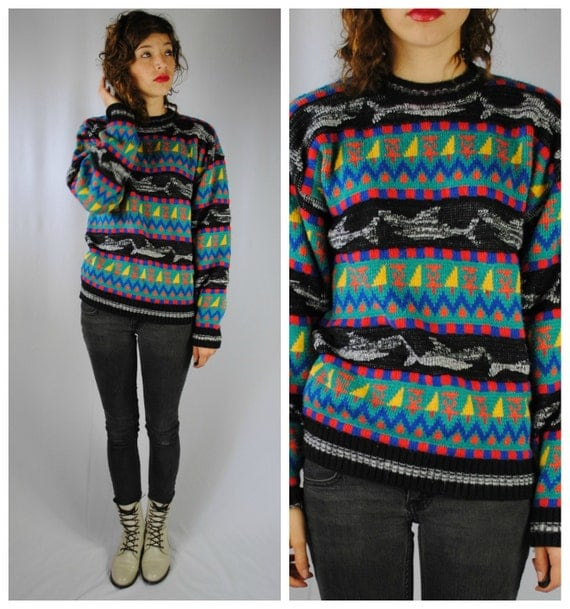 Vintage 80s Knitted Colorful SHARK Pattern SWEATER. (Large)