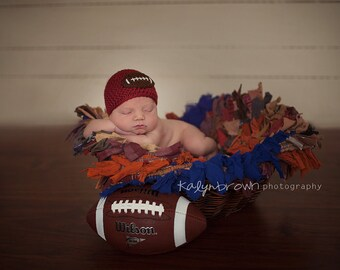 Crochet Baby Football  Applique Beanie - Newborn to Adult - Autumn Red - MADE TO ORDER