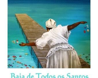 BRAZIL, Baia de todos os Santos, Salvador de Bahia, Original Illustration, Travel Poster, Free Shipping in USA.