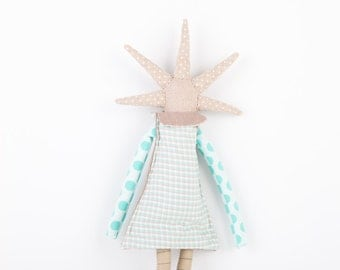 ooak Natural canvas rag doll  - funky handmade doll With cool spikes Haircut Wearing Turquoise, aqua, blue stripes and dots