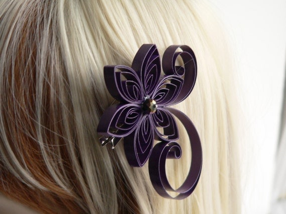Flowers In Hair For Wedding Guest : Purple hair flowers for wedding plum clip