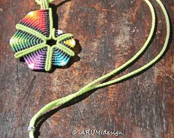 Small GREEN RAINBOW SPIRAL fiber pendant, cavandoli macrame adjustable necklace, handmade by Arumi design