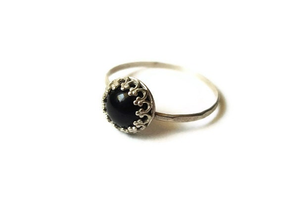 Handmade Onyx Ring, Argentium Silver Ring, Black Gemstone Ring, Onyx Cocktail Ring