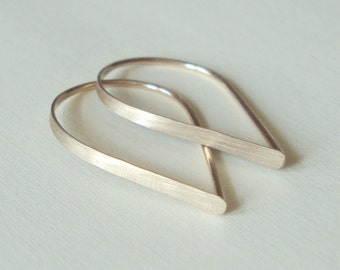 Flat Front Gold Hoop Earrings - Extra Small Brushed Teardrop Hoops, Threader Hoop Earrings