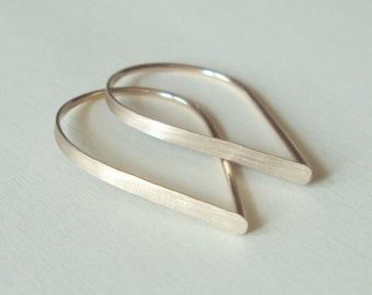 Flat Front Gold Hoop Earrings - Extra Small Brushed Teardrop Hoops, Threader Earrings