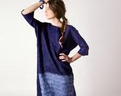 Dark blue dress, taureg indigo navy blue dress, boho fashion dress, custom size