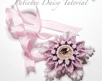 Beading PDF flower pattern tutorial - Patience Daisy - 18mm Swarovski rivoli bezel