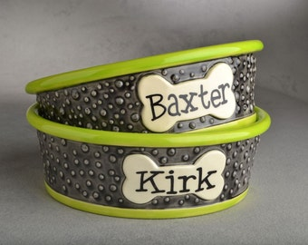 Personalized Dog Bowls Made To Order Custom Set Dottie Dog Bowls by Symmetrical Pottery